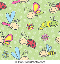 insects pattern - cartoon insects seamless pattern, vector...