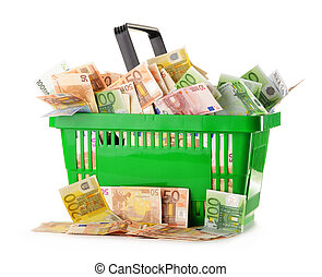 Composition with Euro banknotes in shopping basket