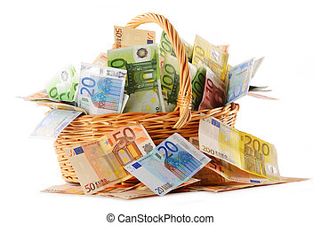 Composition with Euro banknotes in wicker basket
