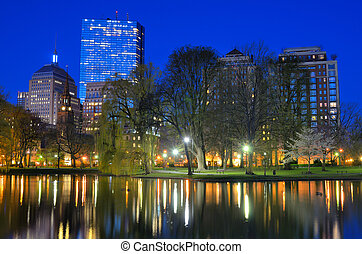 Boston Public Garden - Skyline of Boston, Massachusetts from...