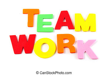 Team work in colorful toy letters on white background