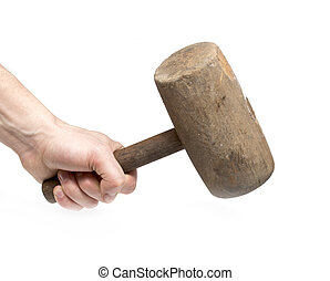 old wood hammer in hand work on a white background