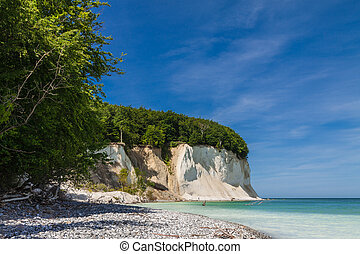 Chalk cliffs on shore of the Baltic Sea on the island Ruegen...