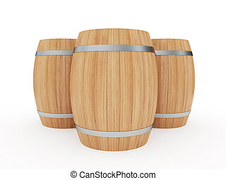 Wine barrels - 3d illustration of a group of wine barrels...