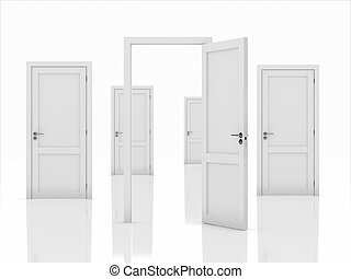 Doors concept - 3d illustration of doors concept isolated on...