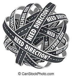 Need Direction Ball of Tangled Roads Uncertainty - A ball of...