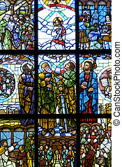 The risen Jesus Christ - Stained Glass window of the risen...