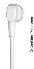 power cord - a white power cord in white back