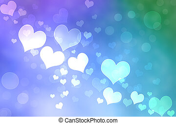 Abstract Heart Lights Background -Purple, Pink, Green