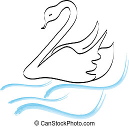 Swan silhouette hand drawing logo