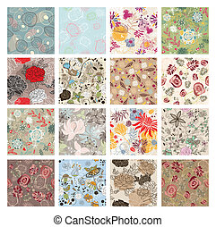 set of seamless floral background