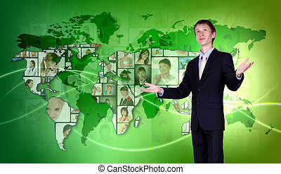 Young man against world map background
