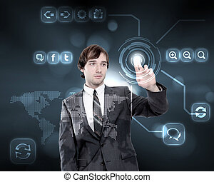 Businessman working with virtual computer screen -...