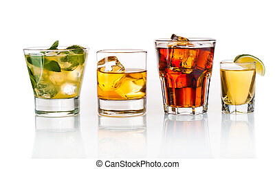 Party cocktails - Variety of cocktails on white background
