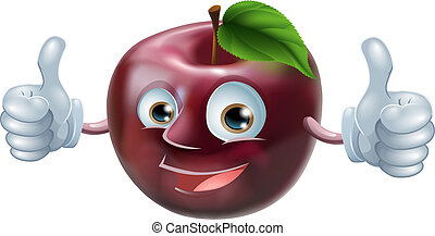 Happy apple man - A happy cartoon apple smiling and giving a...