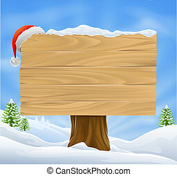 Christmas Santa hat sign background - Illustration of wooden...