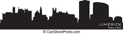 Limerick, Ireland skyline. Detailed vector silhouette
