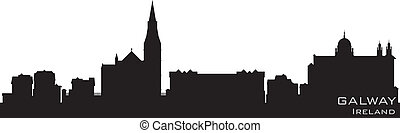 Galway, Ireland skyline. Detailed vector silhouette