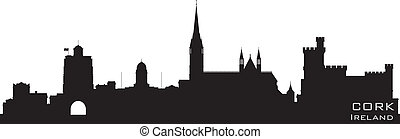 Cork, Ireland skyline. Detailed vector silhouette
