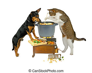 Pot Watcher - Cat and dog are cooking