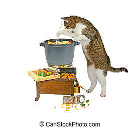 Food is nearly ready..., cooking cat