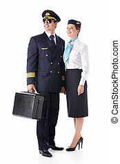 Aviator and stewardess - The pilot and flight attendant with...