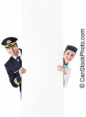 Billboard - The pilot and flight attendant with a billboard