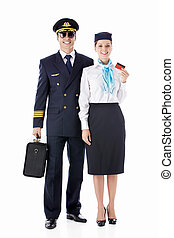 Airlines - The pilot and flight attendant on a white...