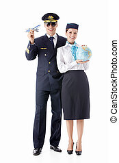The pilot and stewardess - The pilot and flight attendant on...