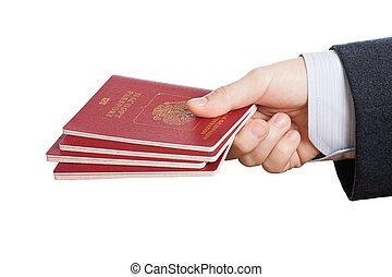 pasaporte, identificación, documento, mano