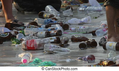 garbage, empty bottles, sea