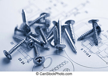 metal screws over technical drawing