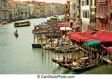 Grand Canal in Venice - Grand canal with gondolas and...