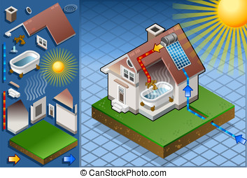 Isometric solar panel for hot water