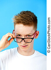 young man with eye glasses