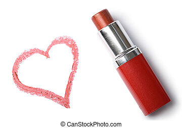 lipstick and heart isolated