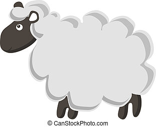 Cute vector sheep - Lovely vector lamb isolated on white...