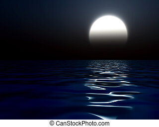 Dark night with the large shone moon reflected in water of...