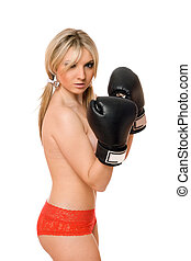 Attractive blond girl in boxers gloves