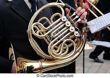 eustachian tube - details of musician playing the eustachian...