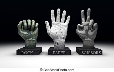 Roshambo - Rock Paper Scissors - 3 statuettes showing the...