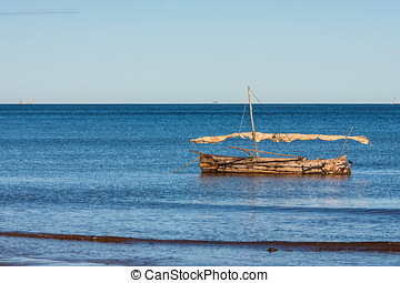 Outrigger canoe - Malagasy dugout to Analalava, western...