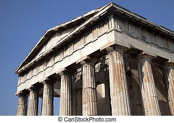 templo, Hephaestus, antiguo, ago