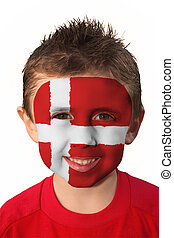 Face Paint - Denmark - Young Boy with Denmark flag face...