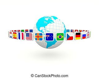 Earth with flags isolated on white