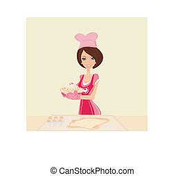 beautiful Housewife cooking cakes