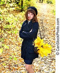 Girl in a park - Girl in an autumn park