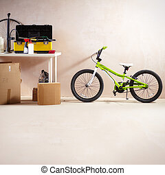 Mountain bike and equipment - Image of mountain bike and...