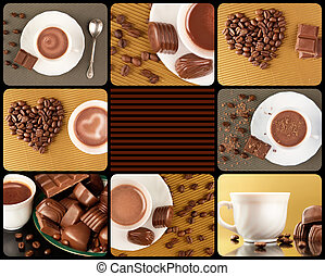 Sweet life - Collage composed of photos of chocolate sweets,...
