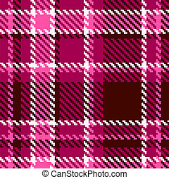 Seamless Red and Pink Checkered Vector Fabric Pattern